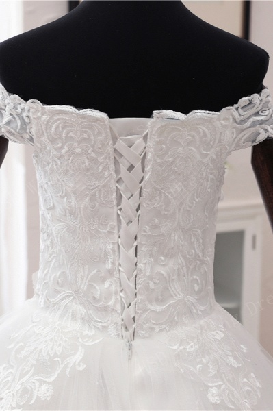 Long Ball Gown Off-the-shoulder Tulle Wedding Dress with Lace Appliques_6