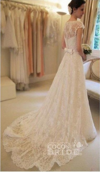 Cap Sleeve Lace Long With Court Train Ivory Beach Wedding Dress_2