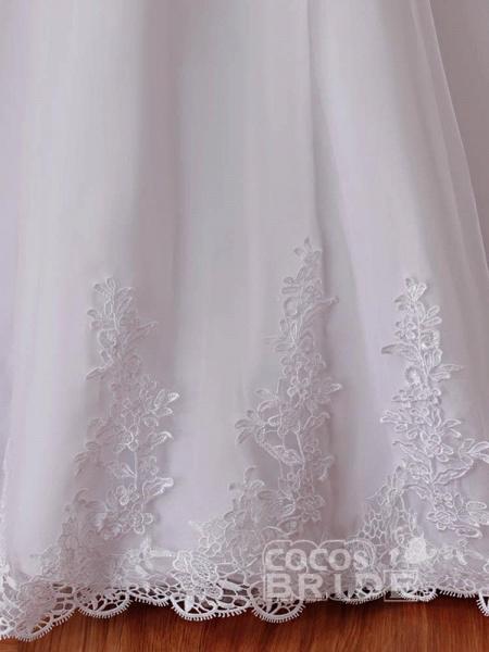 Affordable V-Neck Short Sleeves Lace Mermaid Wedding Dresses_6
