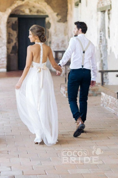 Simple Jewel Sleeveless Gown Lace Top Tulle Beach Wedding Dress_2