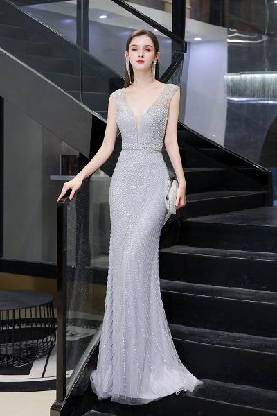 Sexy Mermaid V-neck Silver Long Prom Dress_7