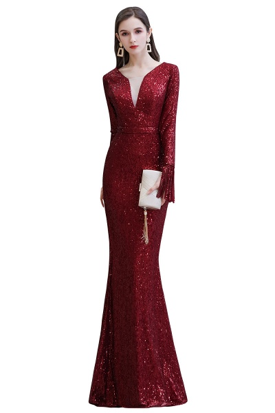 Gorgeous Sequins Long Sleeve V-Neck Mermaid Evening Gowns_1