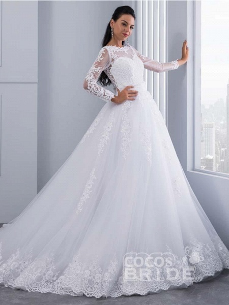 Elegant Long Sleeves Lace Appliques Ball Gown Wedding Dresses_5