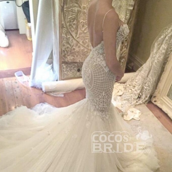 Ivory Mermaid Backless Spaghetti Straps Court Train Lace Tulle Wedding Dress_3