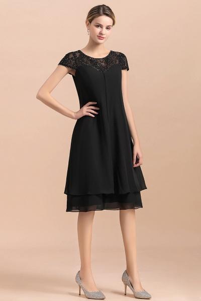 Chiffon Black Cap Sleeve Short Mother of Bride Dress_9