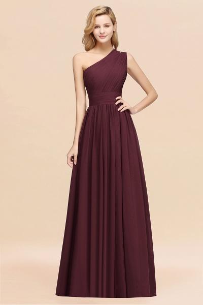Elegant A-Line Burgundy Chiffon One-Shoulder Sleeveless Ruffles Floor-Length Bridesmaid Dresses_47