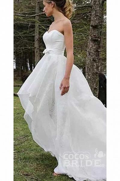 High Low Sweetheart Beach Boho Wedding Dress_2