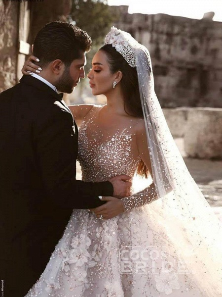 Luxury Long Sleeve V Neck Royal Ball Gown Wedding Dresses_4