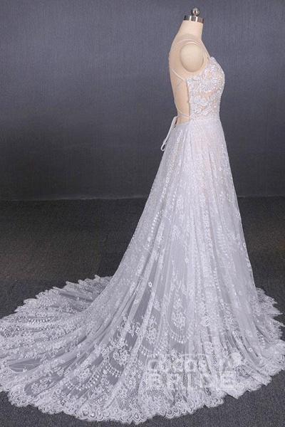 Spaghetti Straps Sweetheart Lace Wedding Dress_4