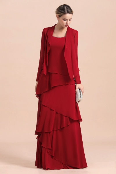 Elegant Burgundy Ruffles Chiffon Mother of the Bride Dress With Jacket_5