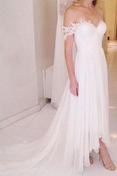 A-line Chiffon Beach with Sweep Train Wedding Dress_1