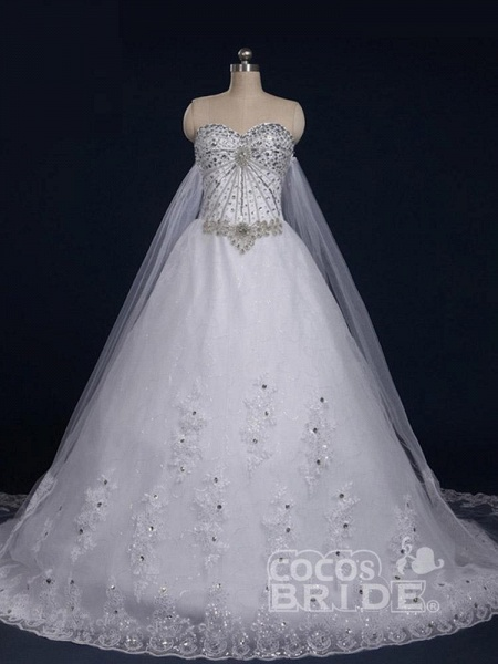 Luxury Sweetheart Crystal Ball Gown Wedding Dresses_3