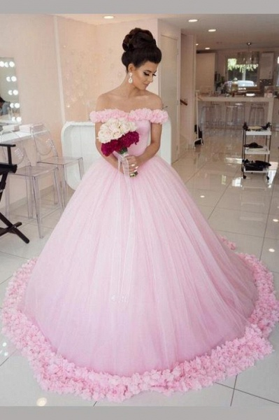 Pink Ball Gown Princess Off-shoulder Hand-Made Flower Wedding Dress_1