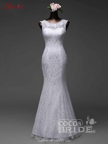Elegant Bow Lace-Up Tulle Mermaid Wedding Dresses_3
