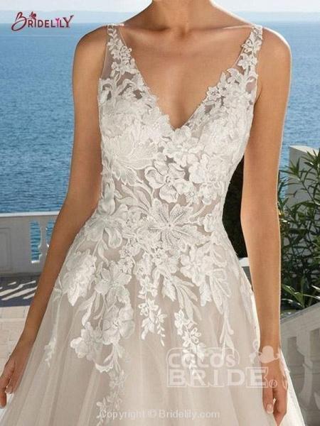 Lace Appliques Open Back A-Line Wedding Dresses_3