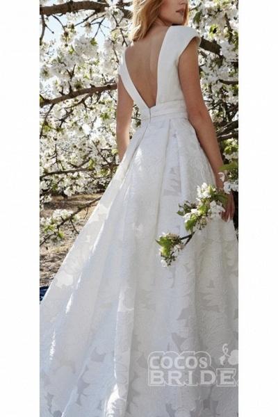 Elegant V Neck with Short Sleeves Lace Floral Wedding Dress_2