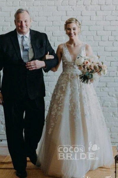 Floor Length V Neck Lace Applique Beach Puffy Tulle Wedding Dress_2
