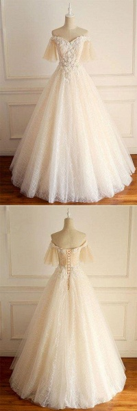 Light Champagne Tulle lace Short Sleeve Strapless Long Wedding Dress_4