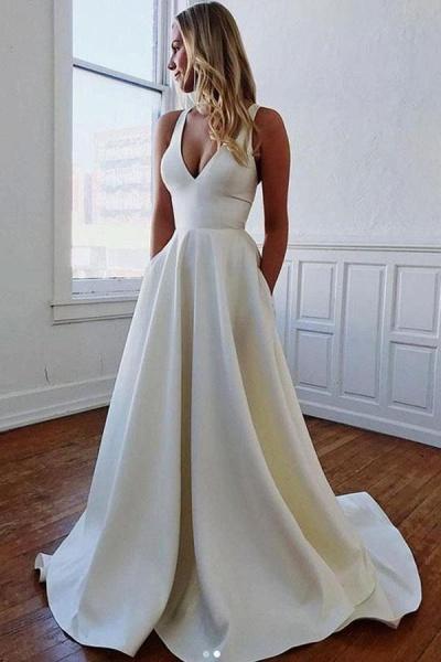Charming V-neck Bow Back A-Line Wedding Dress_1