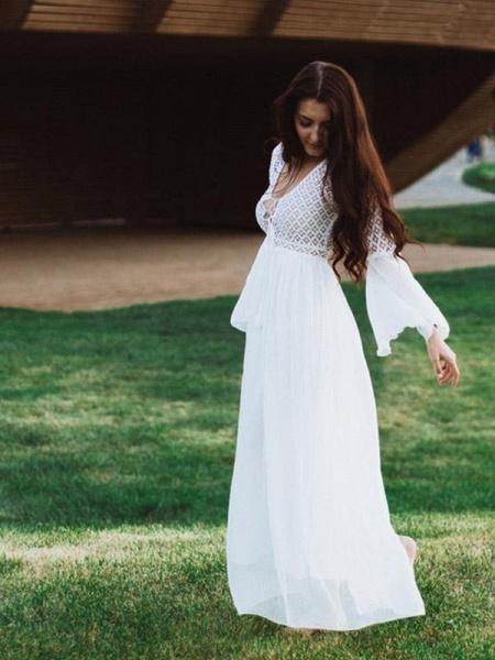 Gorgeous V-Neck Long Sleeves Floor Length Ruffles Wedding Dresses_1