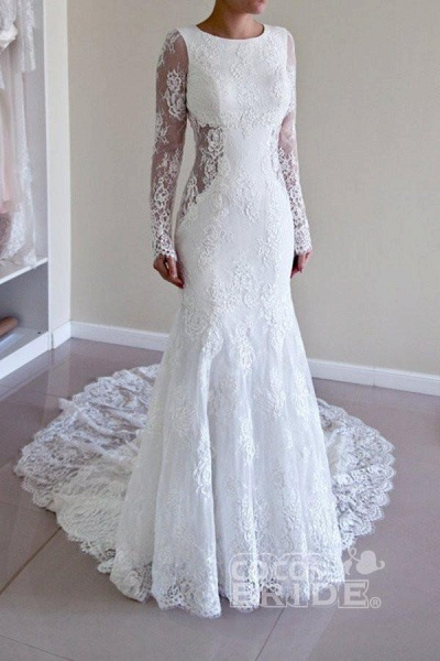 Long Sleeves Open Back Lace with Train Mermaid Beach Wedding Dress_2