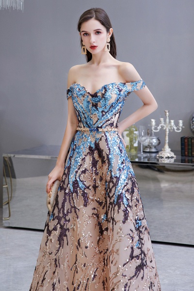 Off-the-Shoulder Sequins Long Multi-Color Prom Dress_5