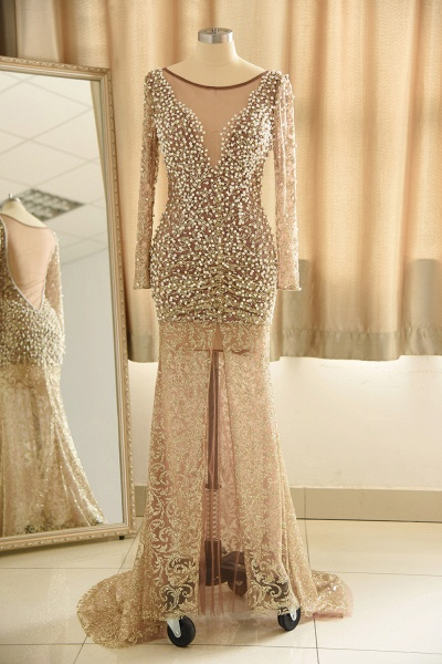 Illusion Neck Beads Champange Pearls High Split Prom Dress_1