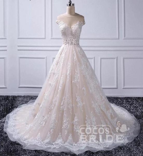 Gorgeous Sheer Neck Cap Sleeves Lace Appliques A Line Wedding Dress_4