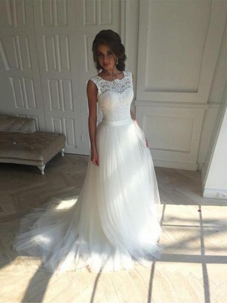 Illlusion A-Line Lace-Up Ribbon Wedding Dresses_1
