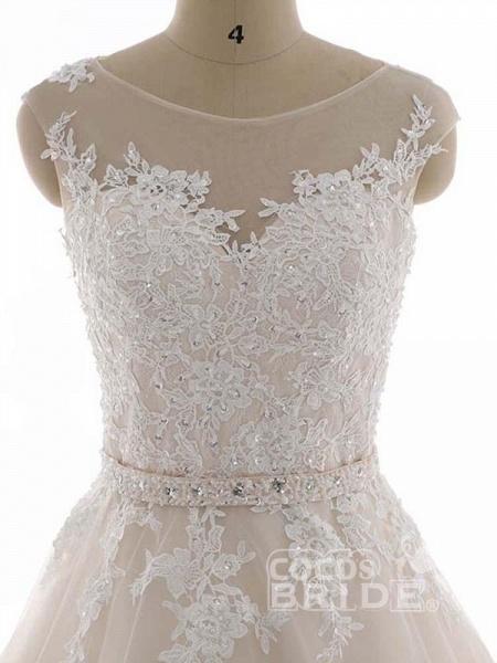 Elegant Bateau Lace Appliques Ribbon Wedding Dresses_5