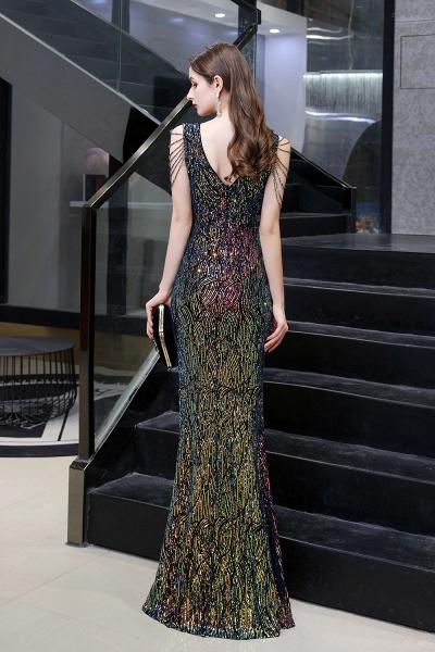 V-Neck Sequins Long Evening Dress With Split_14