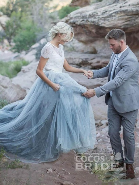 Romantic Short Sleeves Sweep Train Tulle Wedding Dresses_4