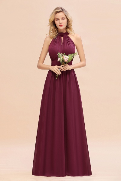 BM0758 Glamorous High-Neck Halter Bridesmaid Affordable Dresses with Ruffle_44