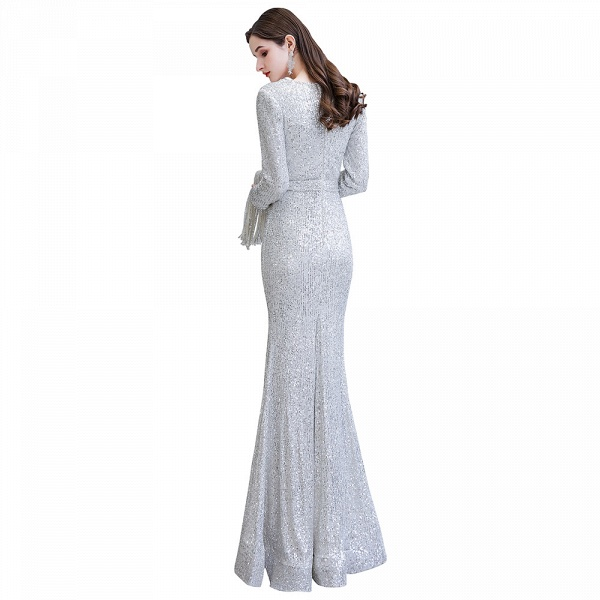 Gorgeous Sequins Long Sleeve V-Neck Mermaid Evening Gowns_31