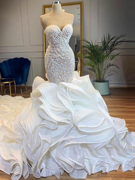 Elegant Sweetheart Lace Up Crystal Mermaid Wedding Dresses_1
