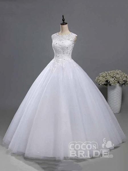 Elegant Beads Lace-Up Ruffles Wedding Dresses_3
