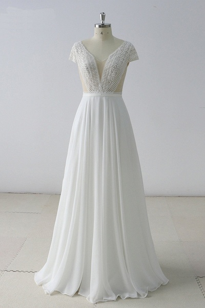 White Lace Backless V Neck Long Wedding Dress_1