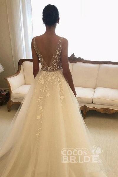 Romantic V Neck Beach with Lace Appliques A Line Wedding Dress_2