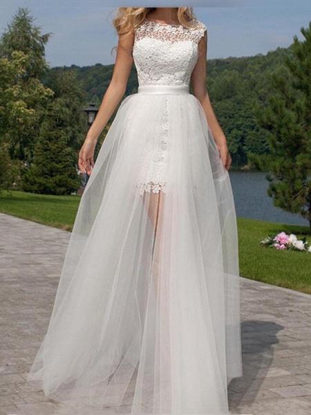 Elegant Sleeveless Backless Lace Tulle Wedding Dresses_1