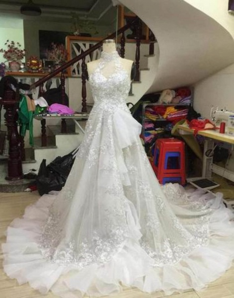 White Tulle Strapless High Neck Long Wedding Dress_2