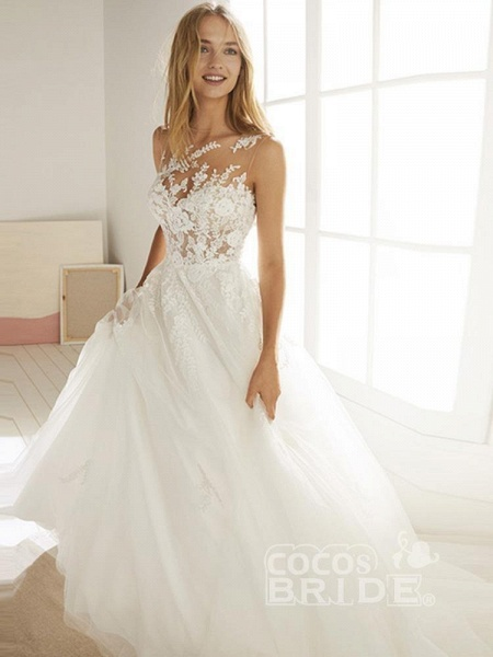 Romatic Lace Tulle Wedding Dresses_5