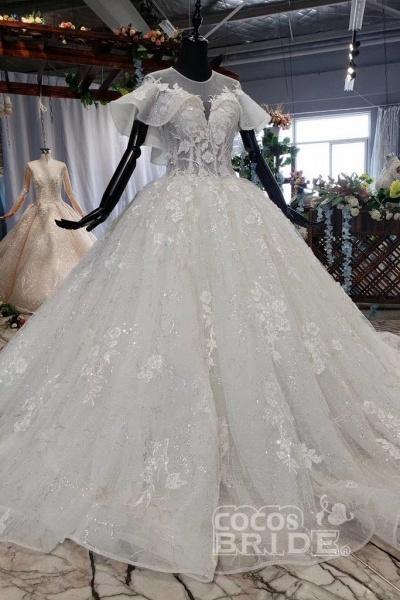 Gorgeous Ball Gown Big Princess Sleeves Wedding Dress_8