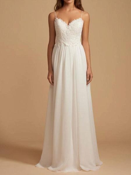 Beautiful Spaghetti Strap Backless Tulle Wedding Dresses_1