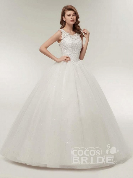 Glamorous Appliques Lace Up Ball Gown Wedding Dresses_2