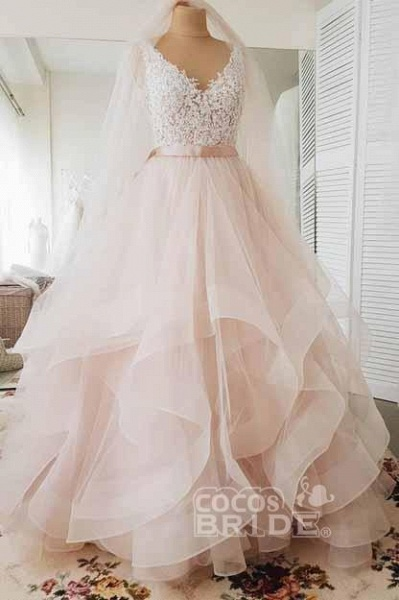 Light Pink V-neck Sleeveless Sweep Train Lace Top Tulle Wedding Dress_2