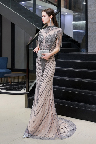 High Neck Cap sleeves Sparkle Beads Long Prom Dresses_9