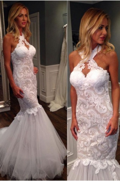 Mermaid Halter Sleeveless Tulle with Lace Appliques Long Wedding Dress_1