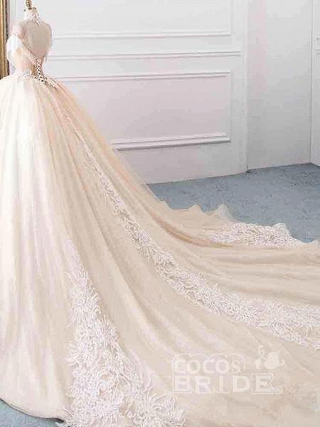 Elegant High Neck Tassel Sleeves Ball Gown Wedding Dresses_3