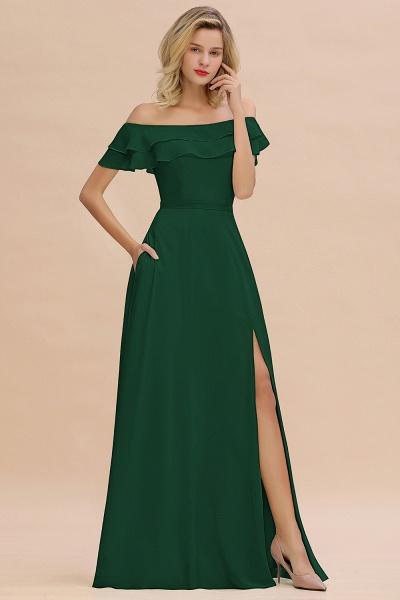 BM0775 Off-the-Shoulder Front Slit Mint Green Long Bridesmaid Dress_31