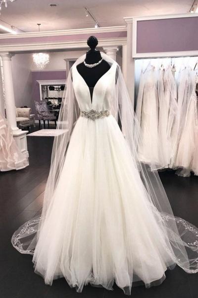 White Satin Tulle V Neck Long Halter Wedding Dress_1